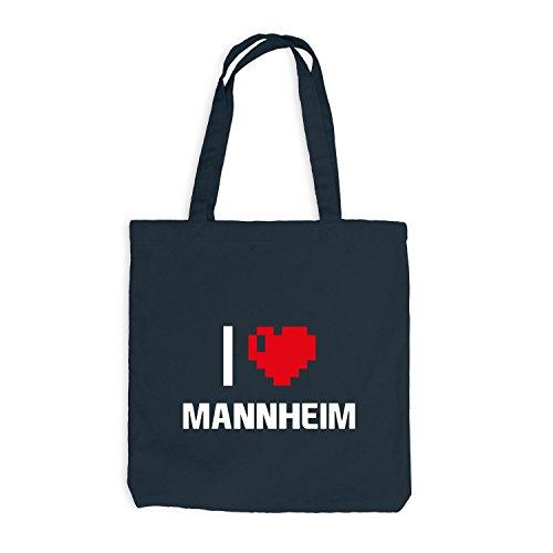 Borsa In Juta - I Love Mannheim - Germania Viaggio Cuore Cuore Pixel Grigio Scuro