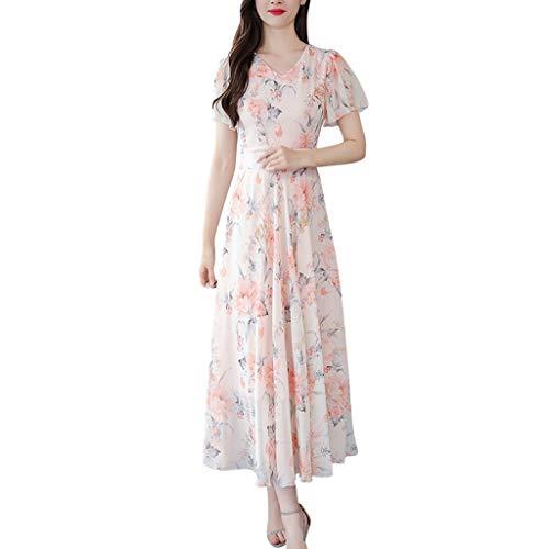 NPRADLA Damen Abendkleid Sommer O-Ausschnitt Knielang Kurzarm Blumendruck Mädchen A-Linie Swing Kleider(3XL,Rosa)