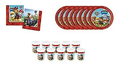Patrulla Canina ALMACENESDAN, 0499, Pack Desechables Fiestas y cumpleaños, 8 Platos 23 cm, 10 Vasos 220 ml, Pack 20 servilletas Paw Patrol por ALMACENESADAN