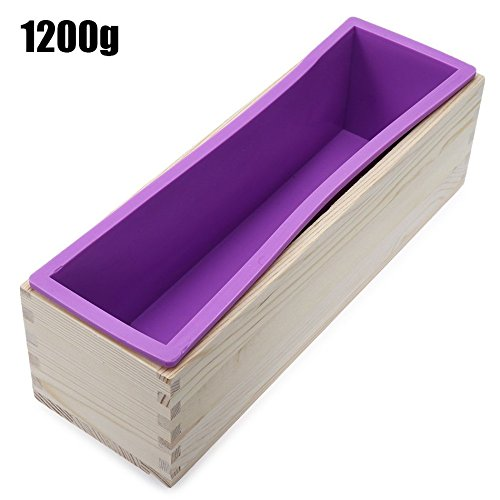 1200g Rectangle Silicone Soap Loaf Mold Wooden Box with Silicone Liner DIY Making Loaf Swirl Soap Cooking Tools by Clest F&H