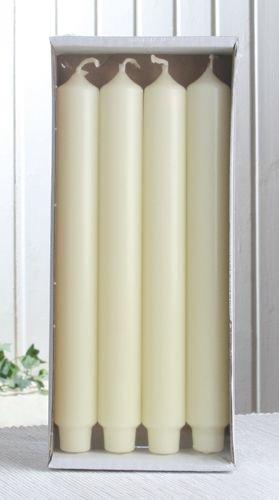 4x Stabkerze mit Zapfenfuß / Punchkerze, 25x3 cm, elfenbein -