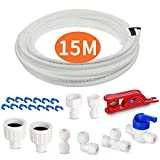 Fridge Water Pipe Tube with Connector Fittings Kit, AOBETAK 15M Fridge Freezer Water