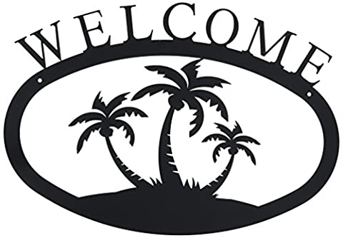 Village Wrought Iron 17.5 inch Palm Trees Welcome Sign Large, Black