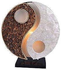 Idea Regalo - Lampada decorativa Ying Yang Natura, rotondo, materiale naturale, altezza circa 30cm, umore lampada