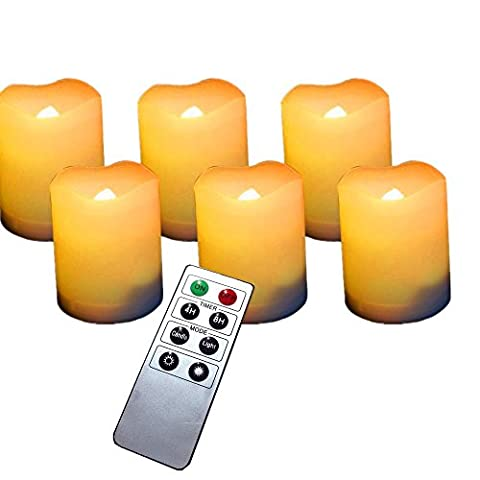 LED Candle , Florally Set of 6 Unscented Flameless Battery Powered Romantic Votive LED Candles Light With Remote Control - Suitable for Party, Weddings, Christmas, Valentine's Day , Funerals, Souvenirs - Makes a Great Gift - Stunning Decor (Warm White)