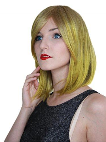 (Prettyland Tie Dye glatt mittellang Perücke gefärbt farbverlauf bunt blond-gold-grün C1823)