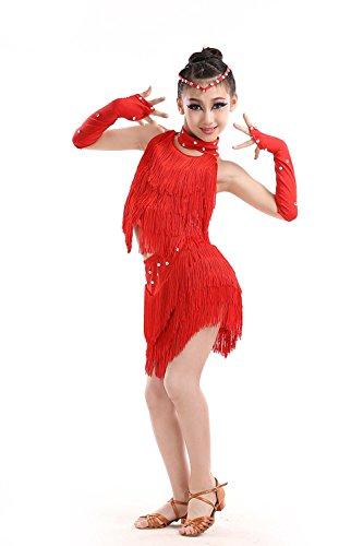 YI WORLD Kind Lateinischer Tanz Kostüme Mädchen Sequins Quaste Kleid blau Gelb rot , red , (Tanz Kostüme Für Männer Indischer)