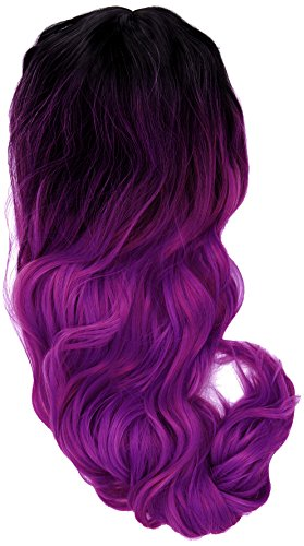 amback lang Dye dunklen Wurzeln Ombre Cosplay Halloween Perücke für Frauen gelockt Welle Haar Perücken Kappe/violett RF6