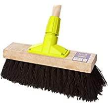"""12 inch Bassine Yard Broom (Rapid Lock System, 12"""" Head and 5 Foot Wooden Handle) Certified FSC 100%"""