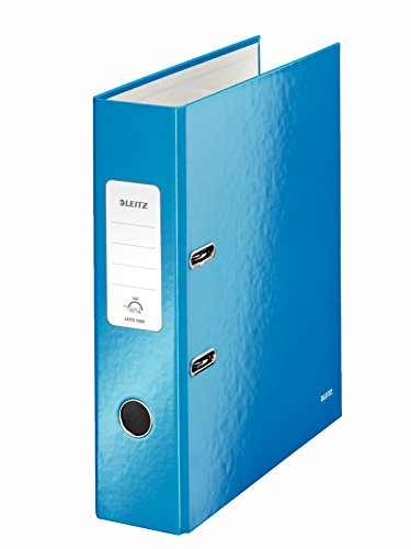 Leitz Qualitäts-Ordner, Blau glänzend, A4, 8 cm Rückenbreite, Graupappe mit laminierter Oberfläche, WOW, 10050036