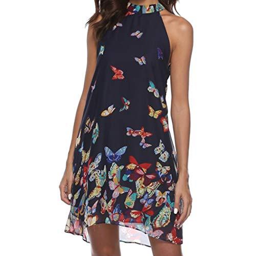 GOKOMO Retro Kleid sexy Schmetterlingsdruck des Kleides der Frauen EIN Wort großes Strandrock Kleid