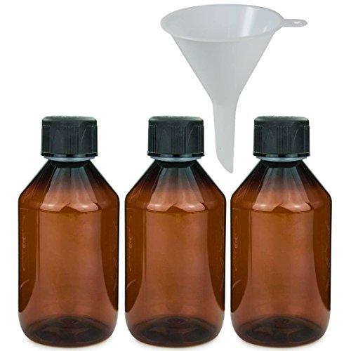 3 x braune Laborflasche 250 ml aus Kunststoff (PET), Apothekerflasche, Veralflasche inkl. Einfülltrichter (Leere Pet-flaschen)