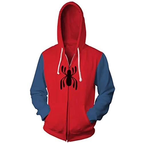 YKJL Spider-Man Hoodie 3D gedruckt Langarm Kostüm Halloween Cosplay Zipper Hoody mit Tasche Student Coat für Spiderman Far from Home,Rot,M