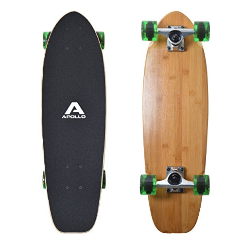"Apollo Mini-Longboard, toller Midi Cruiser als Komplett-Board, 70cm (30x8"") , wendiges Kick Tail Mini Longboard aus Holz im Vintage Skateboard-Style mit High Speed ABEC 9 Kugellagern"