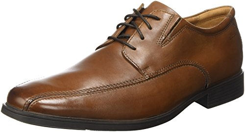 Clarks Tilden Walk, Zapatos de Cordones Derby para Hombre, Marrón (Dark Tan Leather-), 43 EU