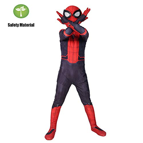 Maskerade Kostüm Kinder - RNGNBKLS Kind Spiderman Cosplay Kostüm Halloween Karneval Maskerade Requisiten Party Verkleidung 3D Druck Spandex Anzug Geeignet Für 3-10 Jahre Alt,Child-S