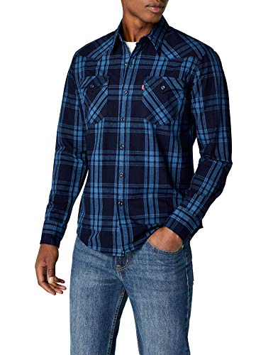 Levi's BARSTOW WESTERN, Camisa Hombre, Multicolor (C32391 GALINGALE INDIGO PLAID MT_PD162219), Small