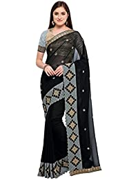Tiggy Women's Designer Crepe Silk Heavy Embroidery Saree With Blouse Piece