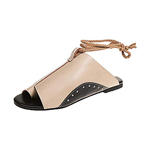 CHuangQi Frauen Riemen Flache Sandalen, Frauen Slingbacks Pumps Leder Bequeme Schuhe Open Toe Low Heel Hausschuhe, Retro Ledersandalen Slingback Open Toe Pump