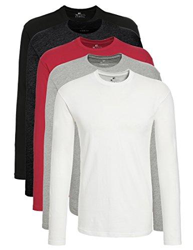 Lower East 5er Pack Herren Langarmshirt mit Rundhals-Ausschnitt, in Verschiedenen Farben 5er Pack, Weiß/Schwarz/Grau/Anthrazit/Rot, X-Large (T-shirt 5 Langarm)