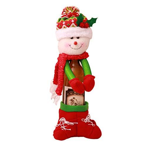 CRZJ Weihnachtsdekoration Lieferungen Hand Weinflasche Set Champagner Rotweinflasche Tasche Hotel Urlaub Kreative Dekoration Weihnachten Wein-Set,Christmassnowman