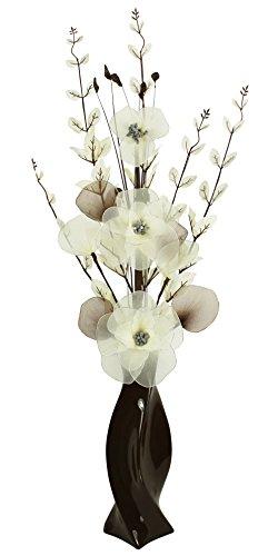 Flourish 721480PT-30marrón jarrón con crema artificiales flores, 80cm