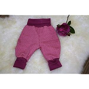 Baby Pumphose Schlupfhose newborn Gr. 56-68 Strickoptik flieder-rosa