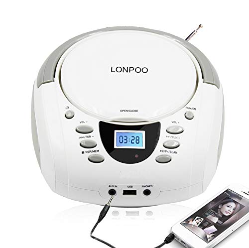 LONPOO Lecteur CD Portable Stéréo Boombox Bluetooth 4.0, Radio FM, USB, AUX, Entrée et Sortie Jack écouteur (Blanc)