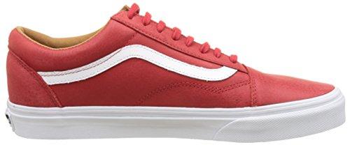 Vans Ua Old Skool, Scarpe da Ginnastica Basse Uomo Rosso (Premium Leather Racing Red/true White)