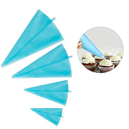 4 tlgs. wiederverwendbares Glasur Dekorations Spritzbeutel Set aus Silikon von Kurtzy - 4 Größen - S bis XL - für Kuchen Dekorieren - Fondant, Gebäck u. Glasuren - für Anfänger u. Fortgeschrittene