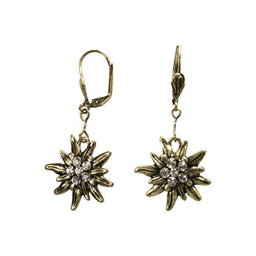 Alpenflüstern Trachten-Ohrhänger Strass-Edelweiß - Damen-Trachtenschmuck, Trachten-Ohrringe antik-gold-farben mit Strass-Steinen klar-kristall DOR035