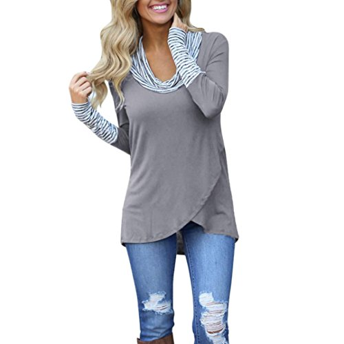 Blase Saum Bluse (ubabamama Frauen Rundkragen Streifen Bluse Long Sleeve Sweatshirt Pullover Tops Patchwork Bluse Unregelmäßige Split Saum T-Shirt)