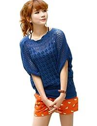 Zehui Loose Women's Batwing Sleeves Knitwear Thin Sweater Hollow Blouse Tops