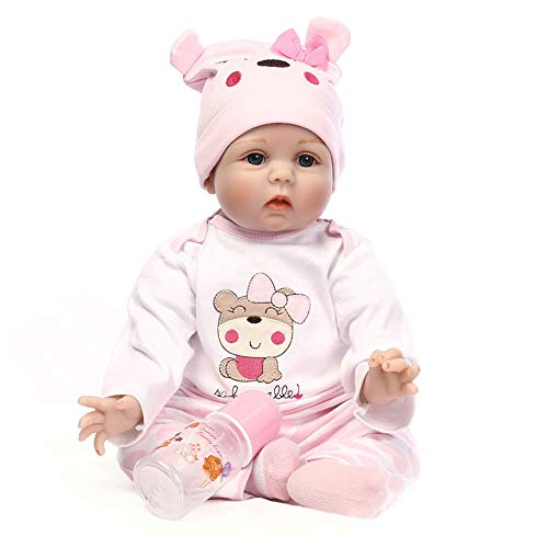 Klinkamz Baby Reborn Puppe aus Silikon, lebensechte Baby-Puppe, 55 cm