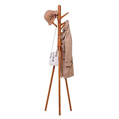 QFFL Porte-manteau Sol-debout Chambre à coucher en bois massif Simple vêtements Rack Cintre multifonctionnel Cintre mural (Couleur : Couleur du bois)