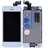 LL Trader Nuevo Blanco LCD de Reemplazo Para iPhone 5 5G A1428 A1429 Pantalla Táctil de Repuesto con Herramientas (Botón de inicio + el sensor de cámara + Flex)