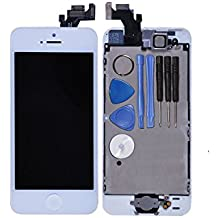 LL TRADER LCD Display Touch Screen Digitizer Glass Lens Assembly Repair Replacement for iPhone 5 5G White with Spare Part (home button and camera + sensor flex)