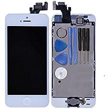 LL Trader Blanco Pantalla para iPhone 5 5G táctil LCD Digitalizador de pantalla lente de cristal Asamblea Reparación Repuestos con parte de repuesto (botón de inicio y el sensor de cámara + Flex)