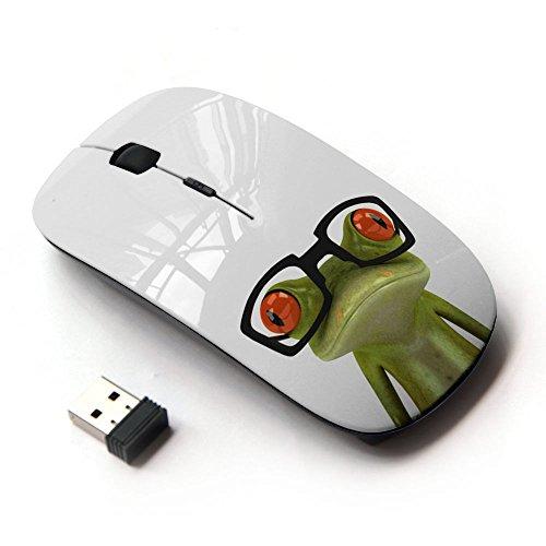 art-gear-mouse-senza-fili-ottico-24g-nerd-frog-glasses-sad-white-green