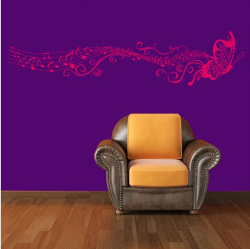 ACEFAST INC Butterfly & Musik Noten Vinyl Wand Aufkleber Art Home Room Decor Aufkleber remonable (Rose Rot) (Inc Acefast)