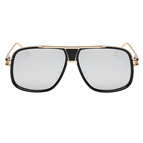 Unbekannt Sonnenbrille Fliegerbrille Nerdbrille Pornobrille Brillen Verspiegelt Gläser - Gold Frame Weiß Silber Linse