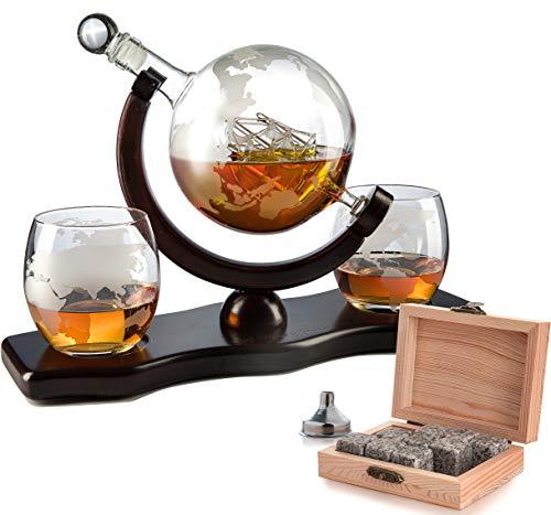 Der Wein Savant Welt Dekanter-mit 2Globe Gläser und Whiskey Steine für Whiskey oder Wein mit Antik Schiff und passende Globe Gläser (Mahagoni gebeizt Holz) - Mahagoni Gebeizt