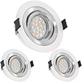 3er LED Einbaustrahler Set Bicolor (chrom / weiß) mit LED GU10 Markenstrahler von LEDANDO - 5W DIMMBAR - warmweiss - 60° Abstrahlwinkel - schwenkbar - 50W Ersatz - A+ - LED Spot 5 Watt - Einbauleuchte LED rund