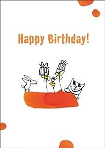 Carte d'anniversaire drôle avec chien, chat et nombreux cadeaux: Happy Birthday