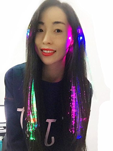 Leisial 10 X LED Hair Lights Random Multicolor Hair Barrettes Fiber Optic Hair Extensions Flashing Hair Clip Extensions for Wig KTV Party Prom Hairpin Supplies Dancing Hairpin