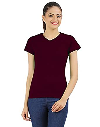 Ap'pulse Plain Regular fit Top (AP-WOMENS-V-NECKT-226_MRN_Small)