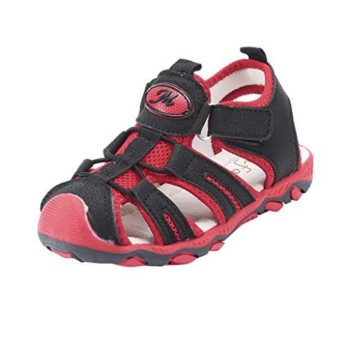 Unisex-Kinder Geschlossene Sandalen/Dorical Baby Mädchen Jungen Sandalette Schuhe Outdoor Sport Mini Sandalen Trekking Wanderschuhe Sommer Strand Schuhe für Kinder(Rot,33 EU)