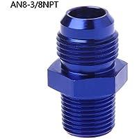 XUNHUAN Varios AN6 AN8 NPT Adaptador de montaje de extremo de manguera de sistema de aire de combustible recto Azul
