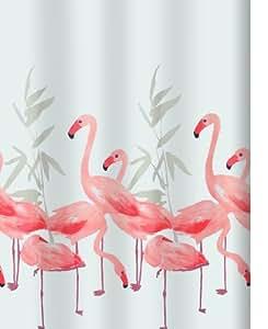 spirella anti schimmel duschvorhang flamingo anti bakteriell waschbar wasserdicht polyester. Black Bedroom Furniture Sets. Home Design Ideas