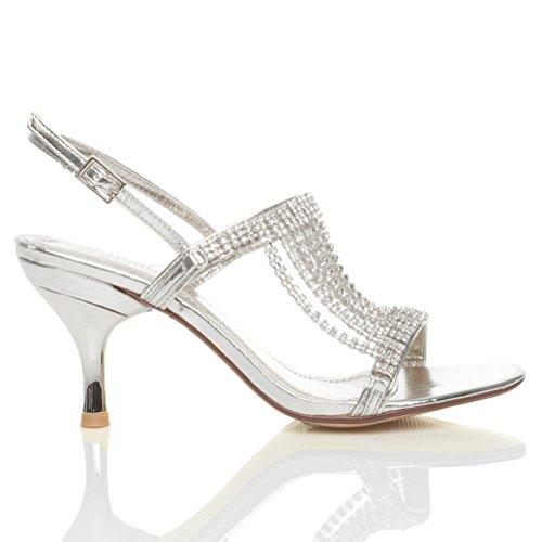 Damen Mitte Hoher Absatz Slingback Drapierte Hochzeit Abend Sandalen Größe Silber